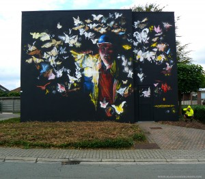 STREET ART BELGUIM NEW WALLPAINTING BY KLAAS VAN DER LINDEN AT ERPE MERE CITY PLUS WEBSITEADRES