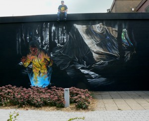 STREET ART BELGIUM, WALLPAINTING FINDING BY KLAAS VAN DER LINDEN ON CULTUREEL CENTRUM DE STROMING IN EVERGEM BELGIUM