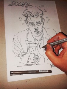 BARFLY DRAWING BY KLAAS VAN DER LINDEN