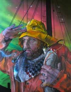LOST AT SEA GOEIE SELFPORTRAIT CANVAS PAINTING BY Klaas Van der Linden