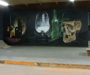 VANITAS WALLPAINTING WEST STATION CHALEROI By Klaas Van der Linden