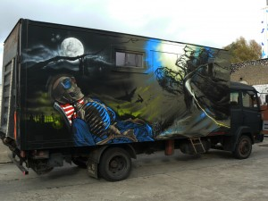 3D Cementry truckpainting by Klaas Van der Linden in Ghent
