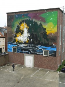 THE ISLAND WALLPAINTING by Klaas Van der Linden in Ghent.