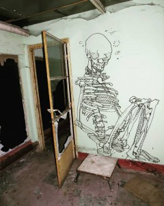 Don't mention the skeleton in the room WallPainting by Klaas Van der Linden in Ghent Belgium